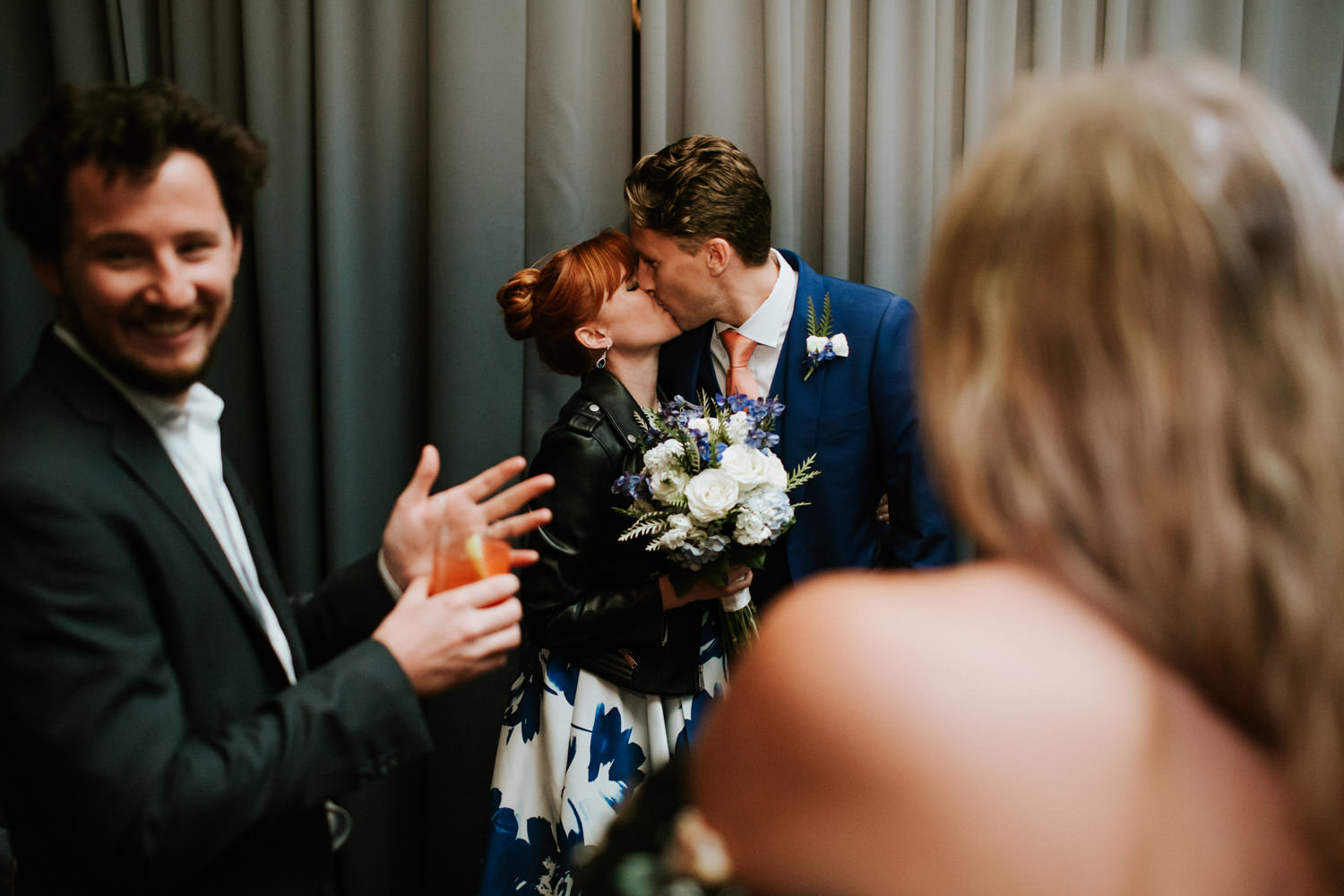 chicago elopement photographer documenting couple kissing during the wedding