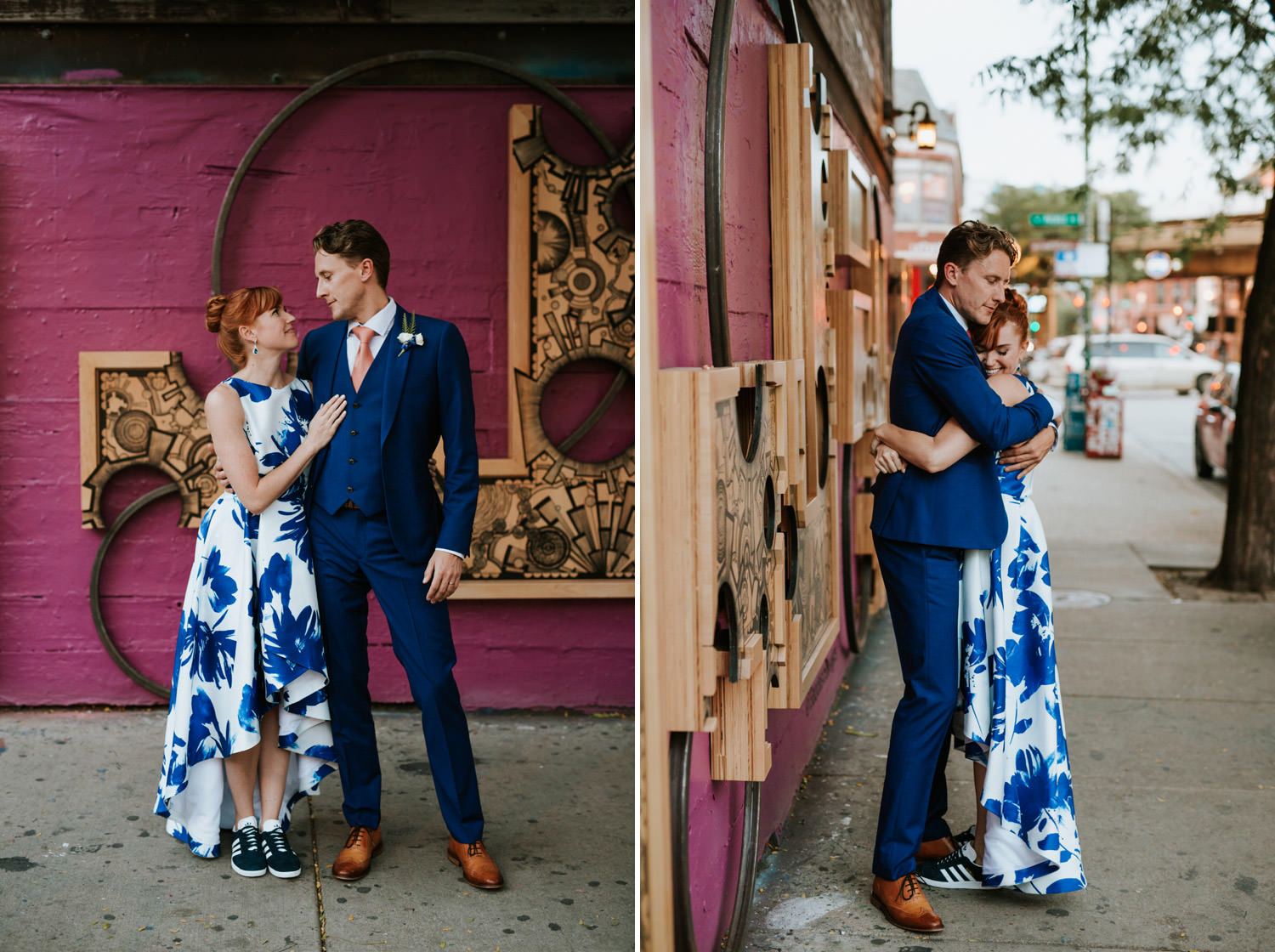 bride and groom exploring wicker park during the wedding day