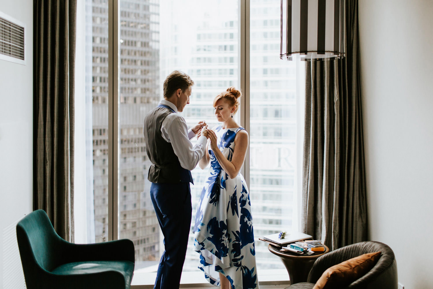 Bride and groom getting ready for their chicago elopement