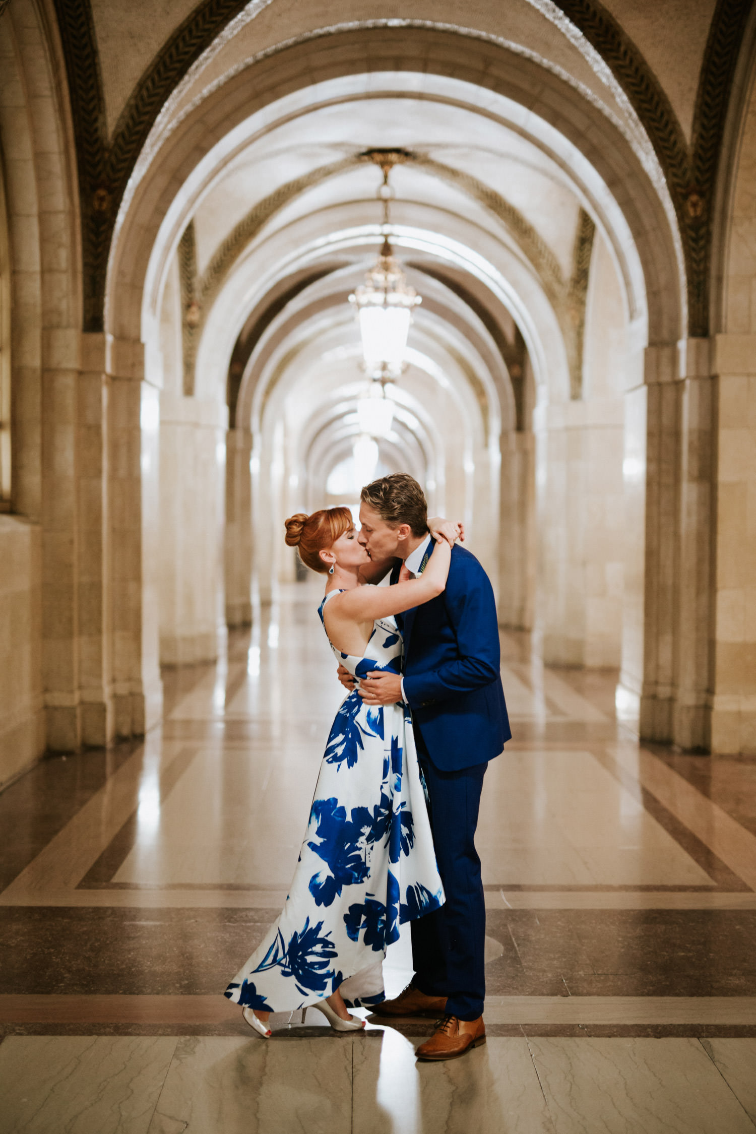 creative portrait of the bride and groom taken at Civil Court in Chicago downtown