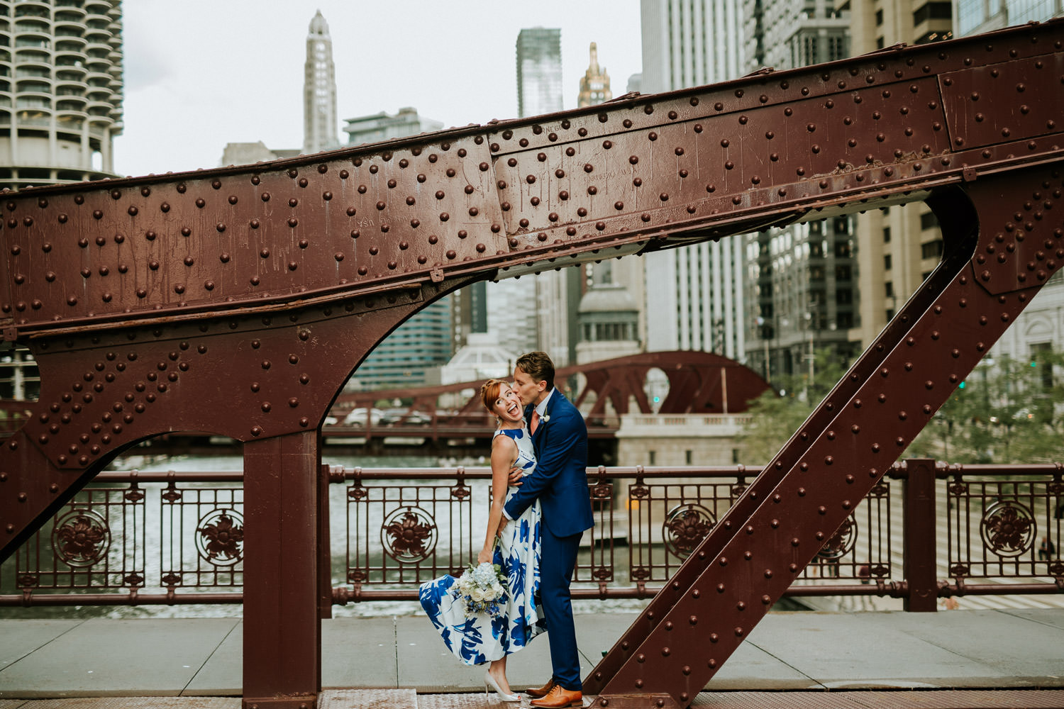 Classic portrait of the bride and groom taken in downtown Chicago