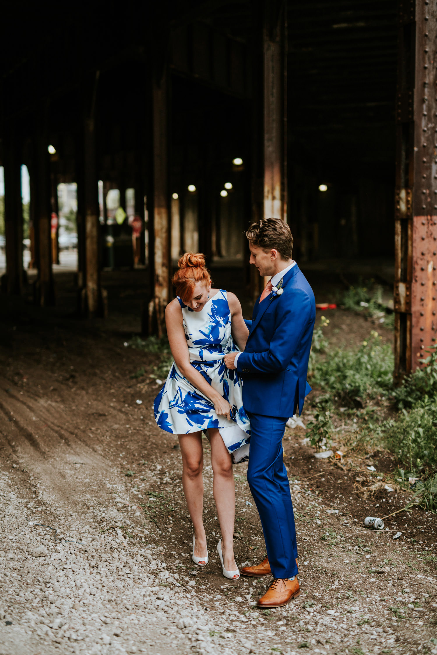 bride and groom portraiture session in Chicago. Photo take during their elopement