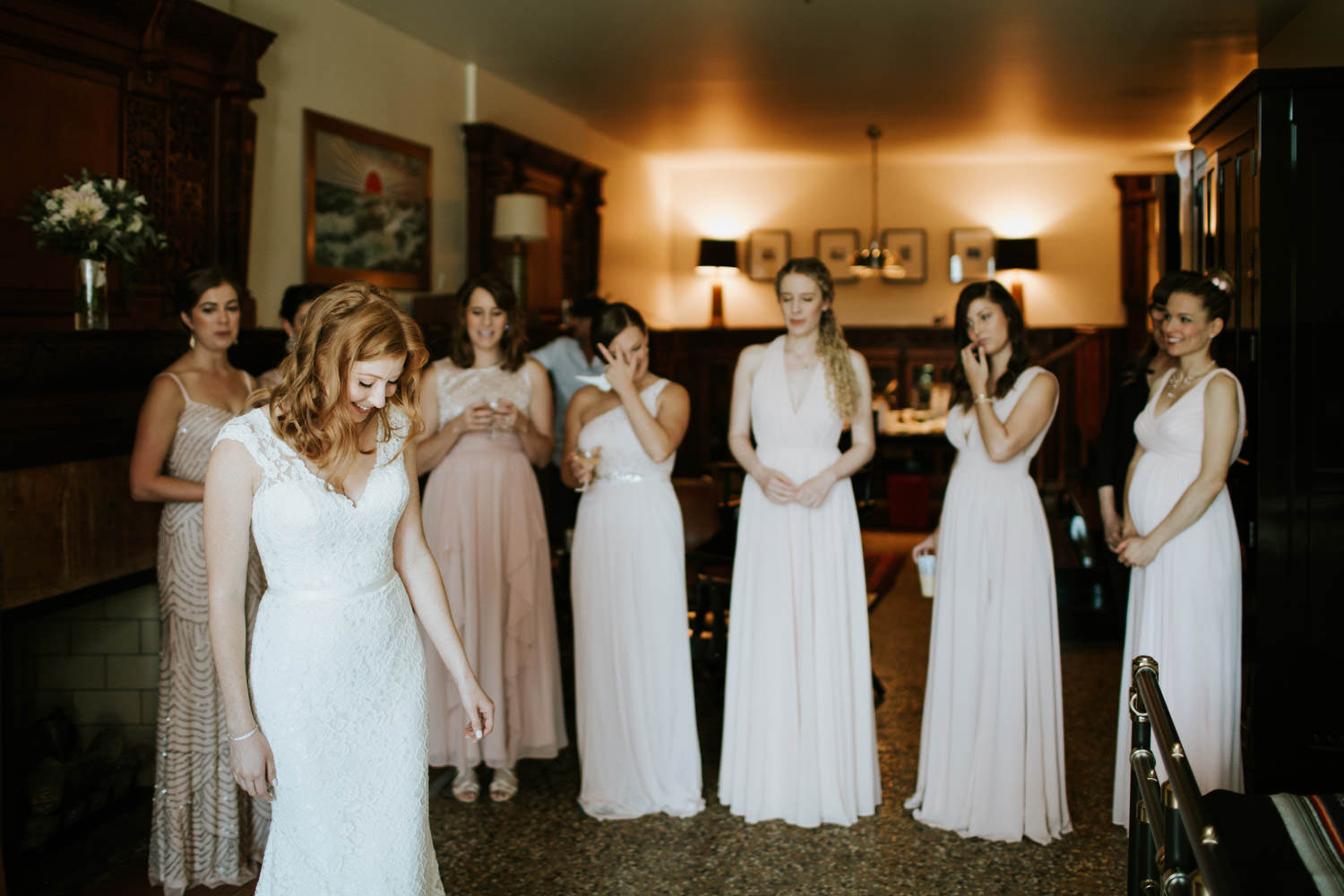 the photo of the bride and bridesmaids taken at Chicago Athletic Association hotel