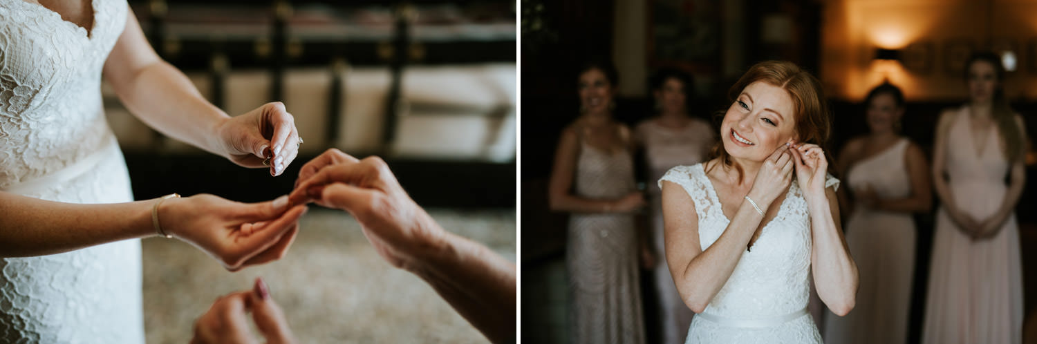 bride putting on her earnings during the wedding at Chicago Athletic Association