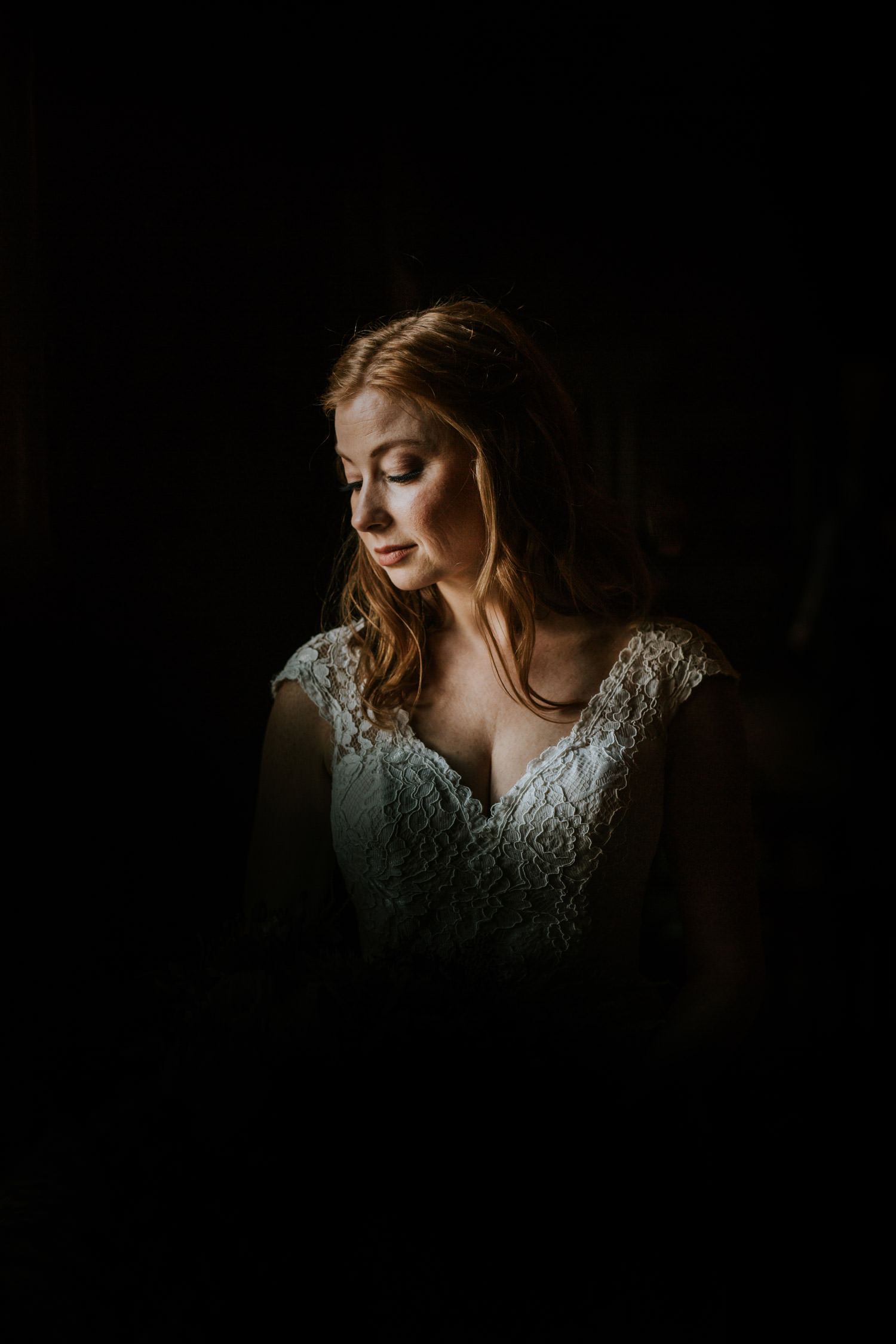 dark and moody photo of the bride take at Chicago Athletic Association hotel