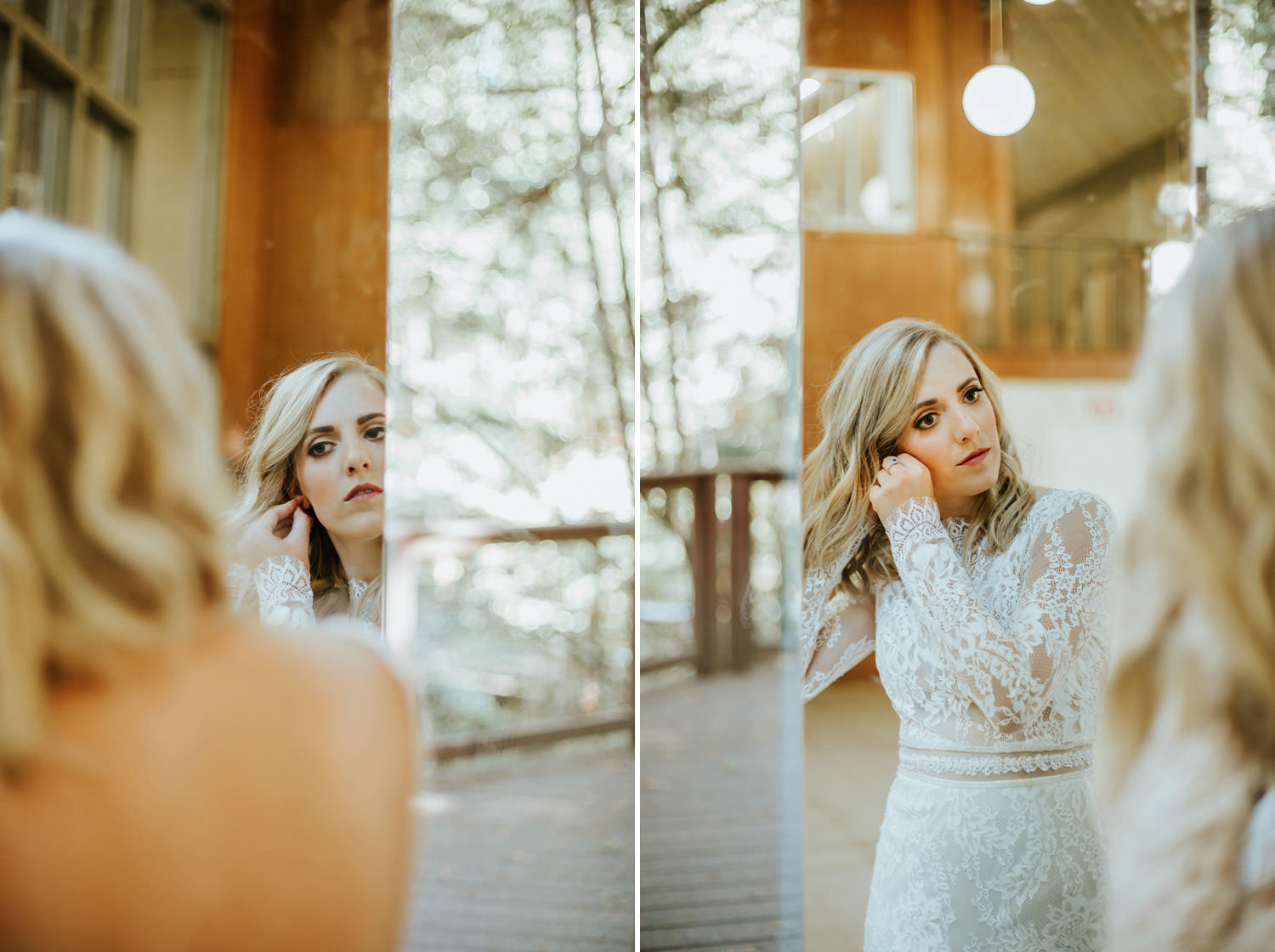 Picture of the bride putting on her earrings during the wedding day at Camp Campbell in California