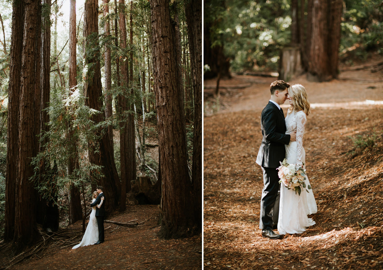Portrait of the bride and groom among the tall trees of redwood in YMCA Camp Campbell