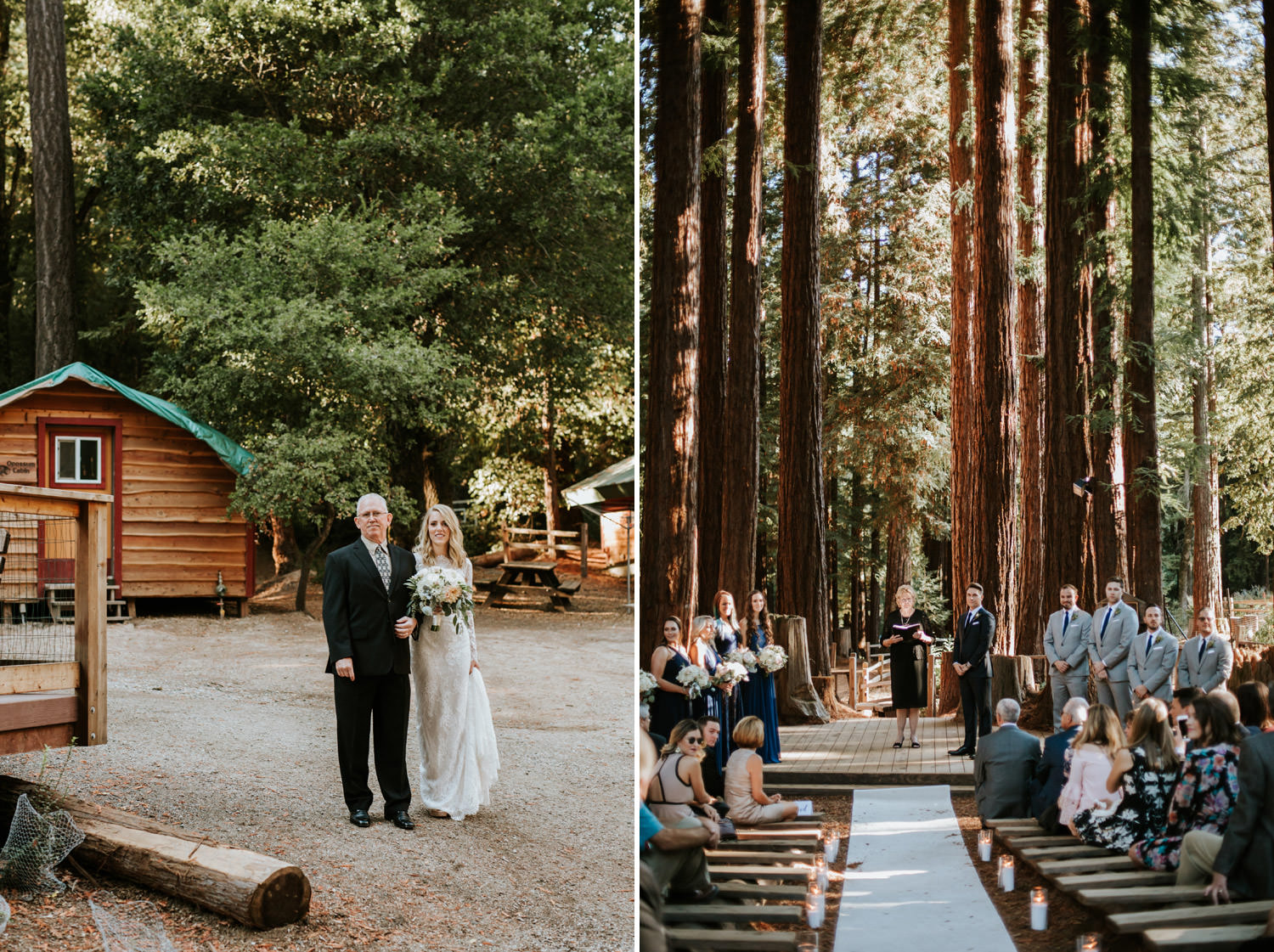 Father lead the bride towards the chapel at YMCA Camp Campbell in California