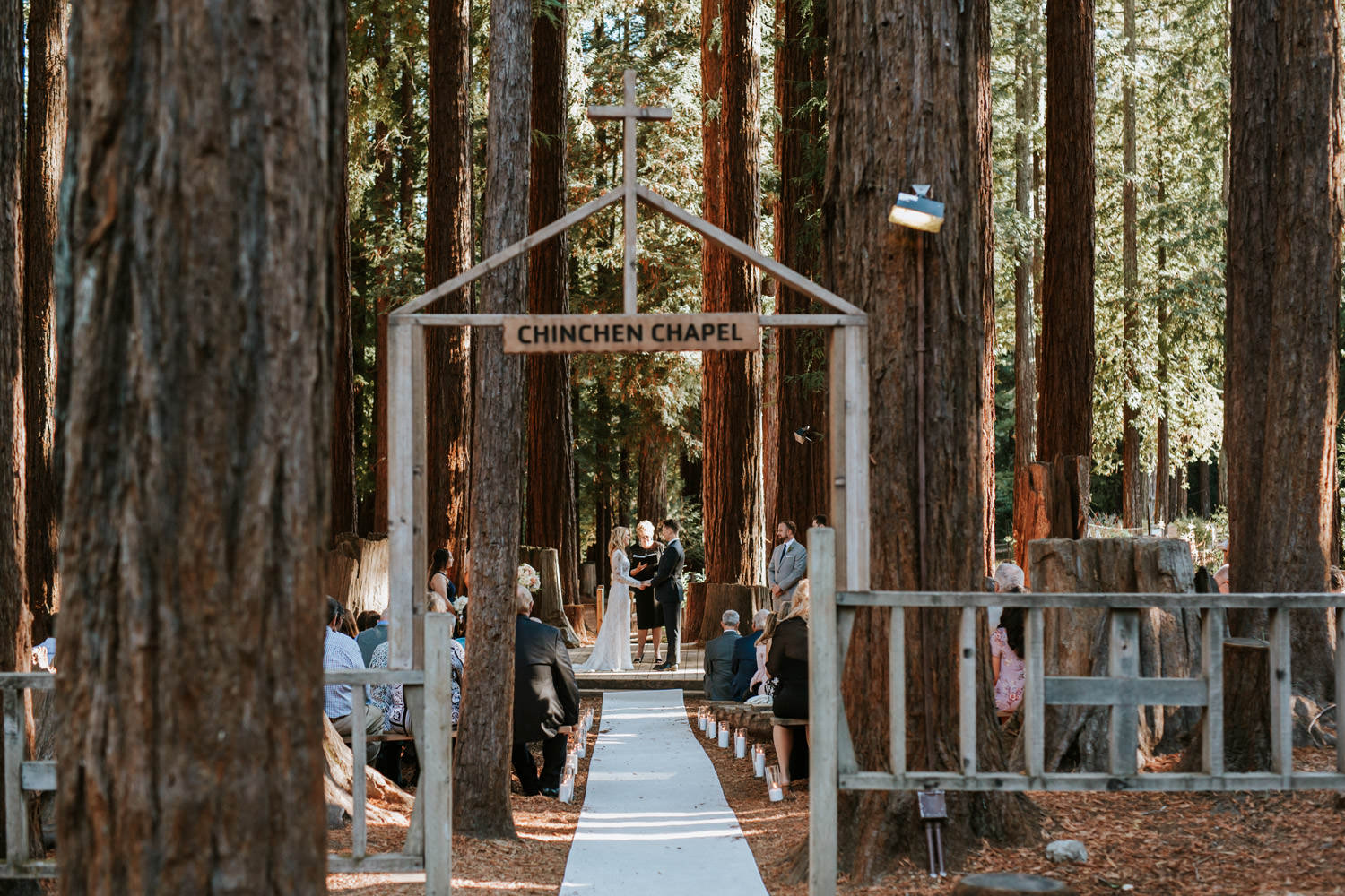 Winde angle picture of the wedding ceremony at YMCA Camp Campbell