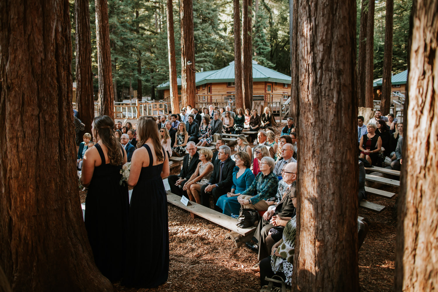 Picture of the guests sitting during wedding ceremony at YMCA Camp Campbell