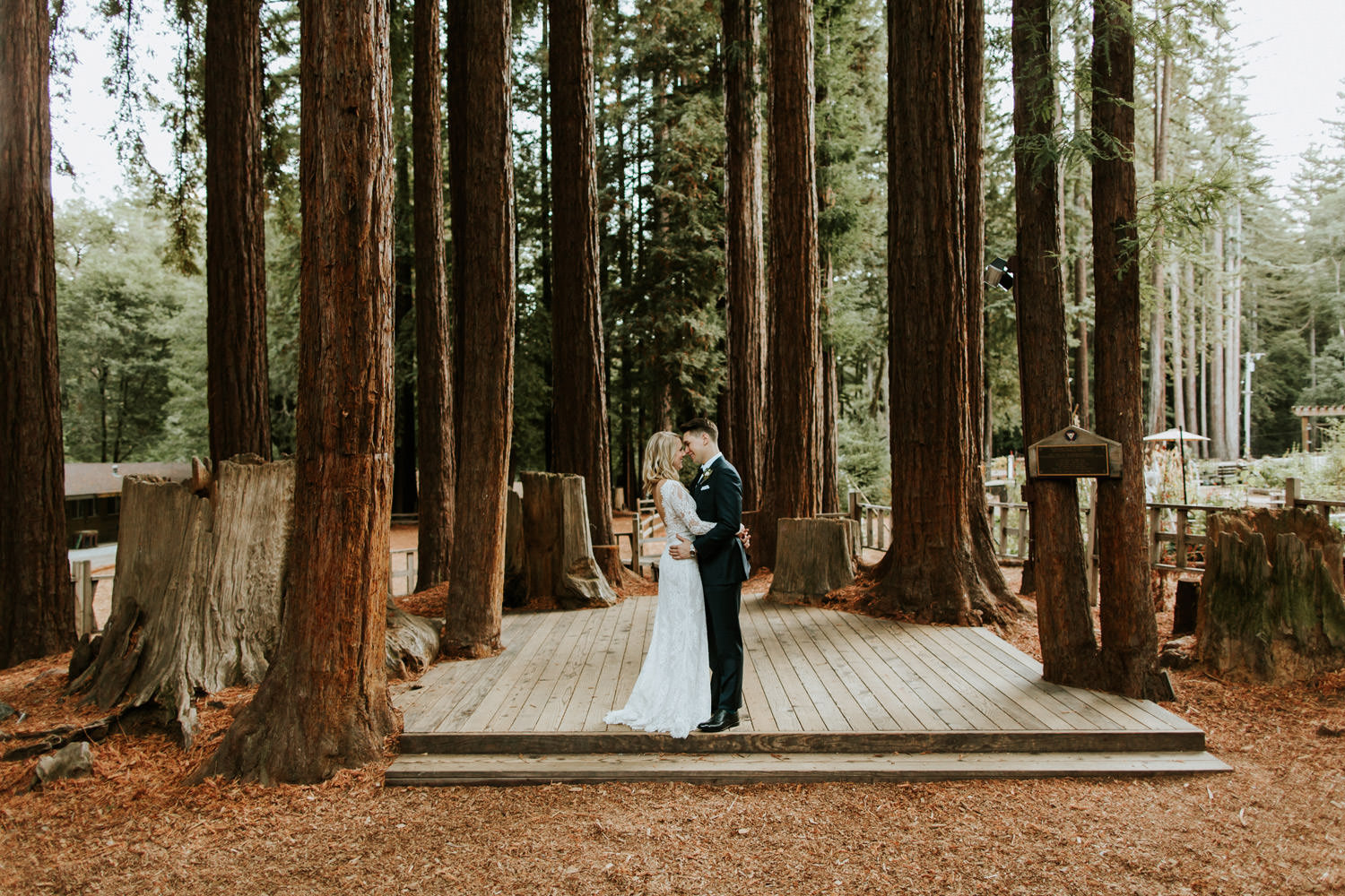Bride and groom kiss at the chapel after the wedding at Camp Campbell in California