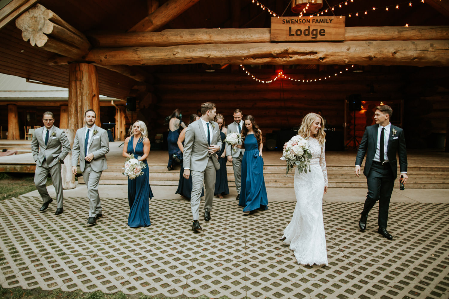 Bride groom and bridal party being introduced on the wedding day at Camp Campbell in California