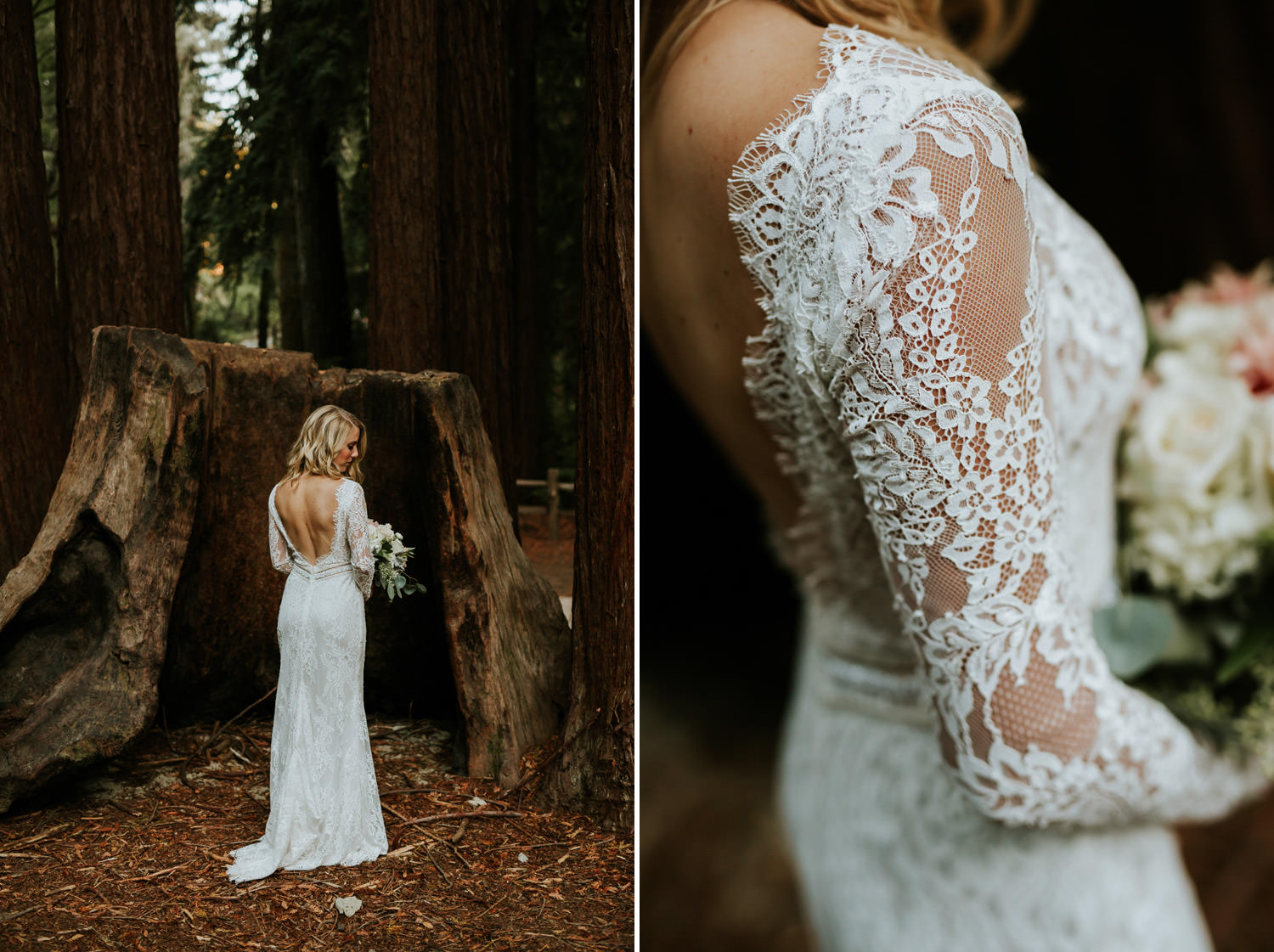 Portrait of the bride taken in California Redwood wearing Calla Blanche. Photographed at Camp Campbell in California
