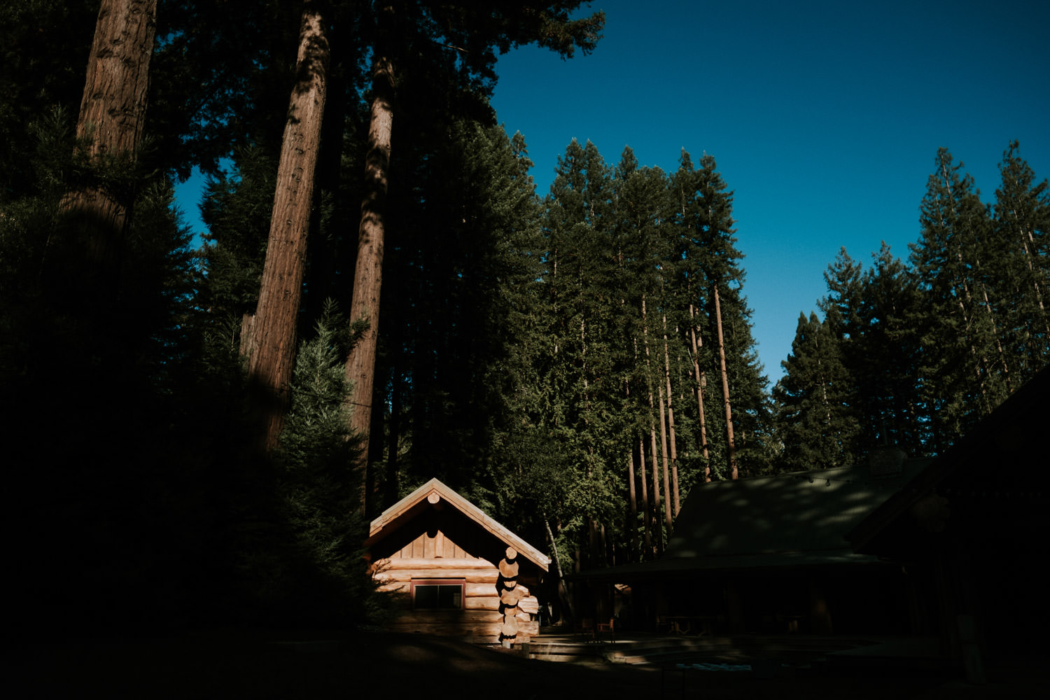 The view of the the cabin at YMCA camp in California