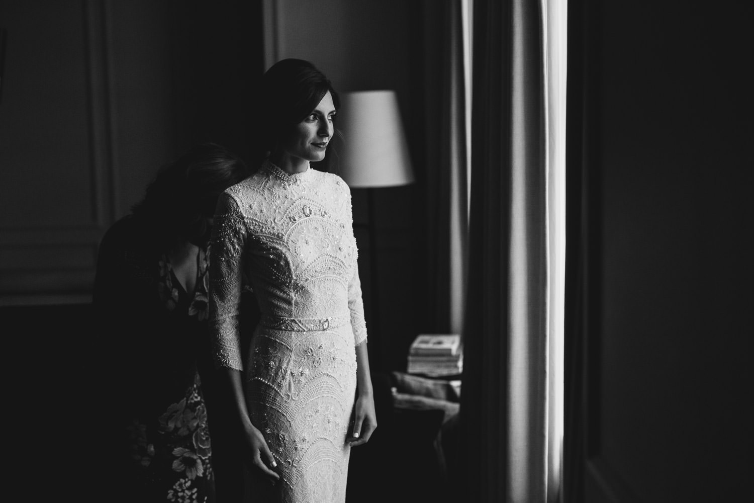photograph of the bride getting before the wedding at the gray hotel