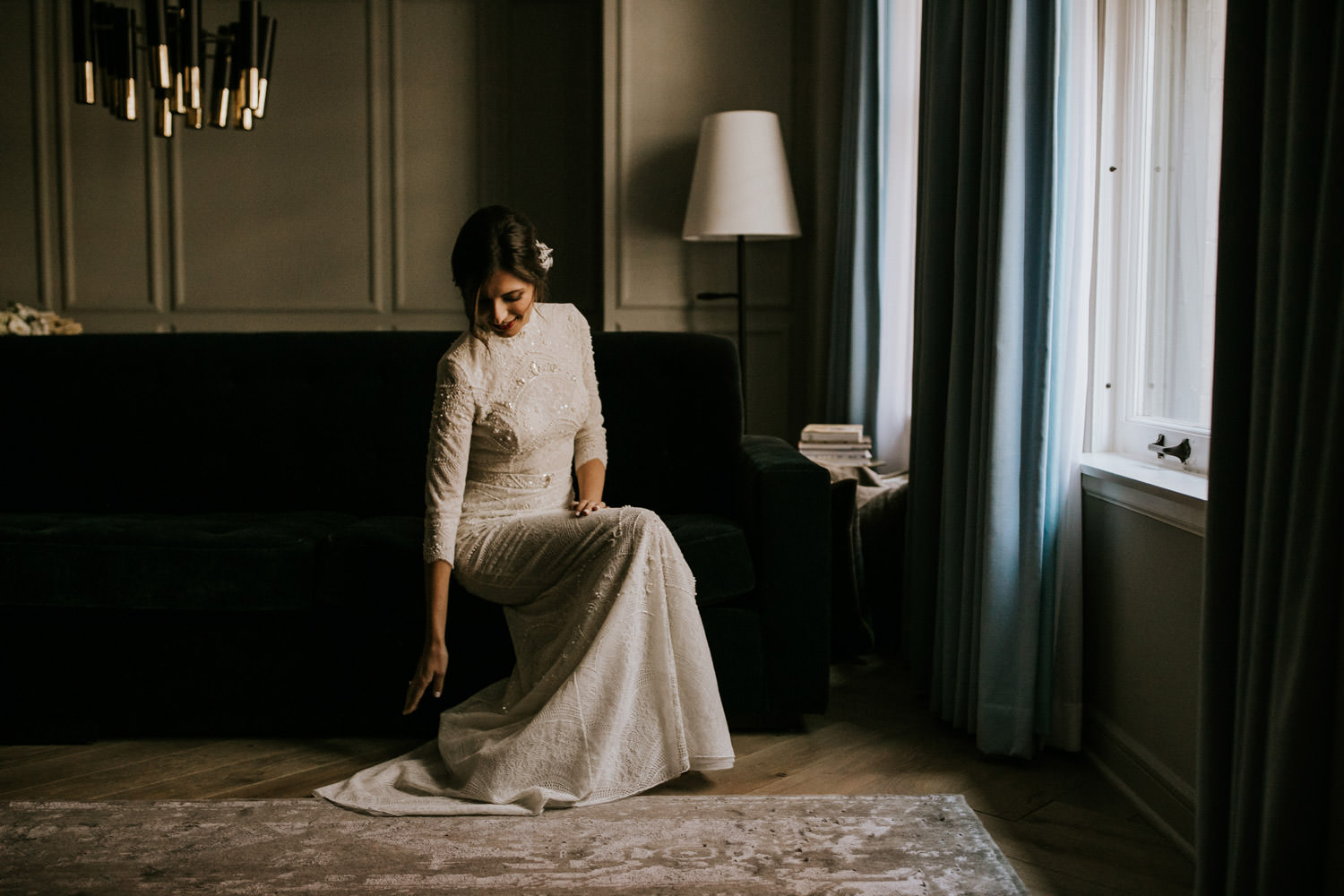 documentary wedding photographer capture the portrait of the bride before the wedding ceremony at the gray hotel in Chicago