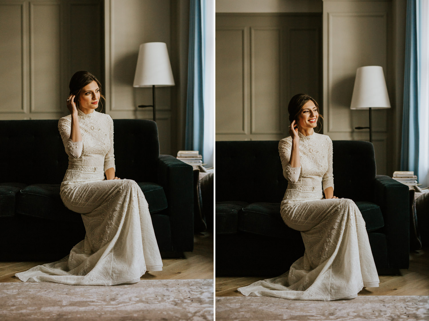 a portrait of the bride taken on her wedding day in the gray hotel in Chicago