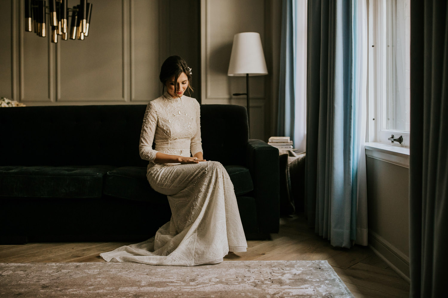 moody portrait of the bride take at the gray hotel in chicago before the wedding ceremony
