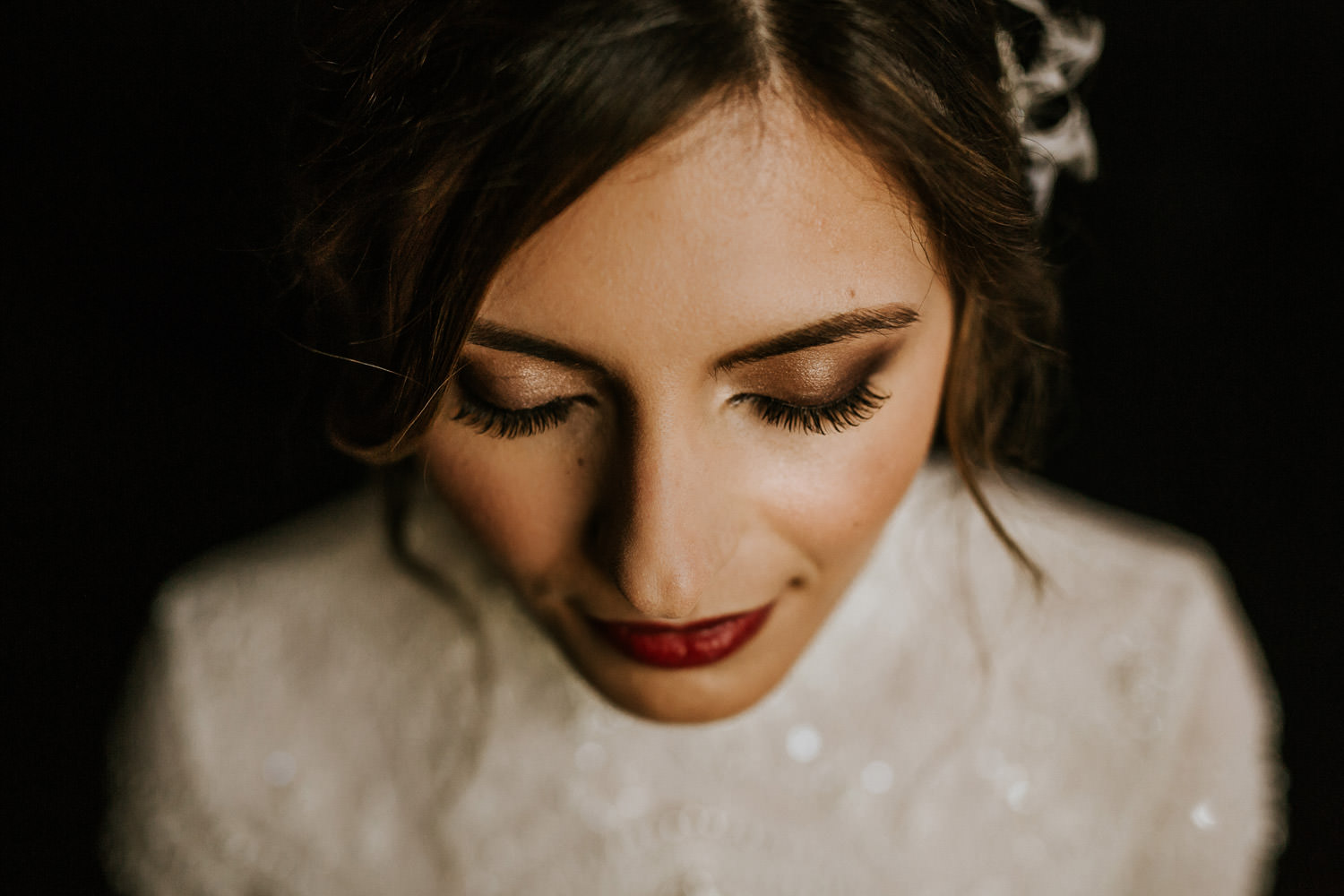 a close up of the bride's make up taken at the gray hotel in chicago