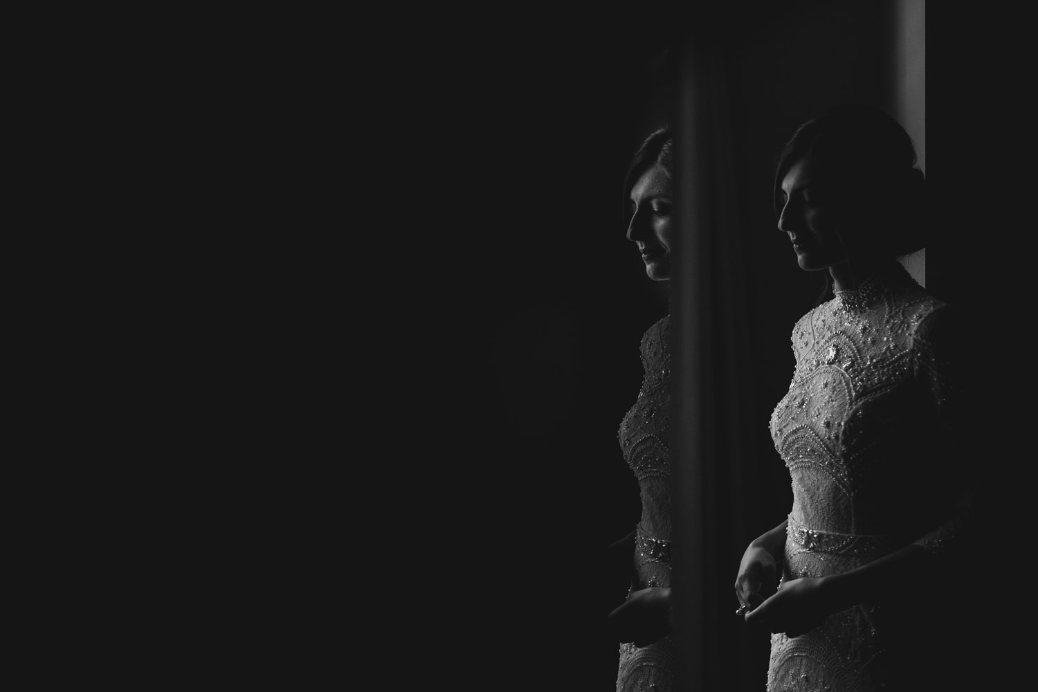 creative portrait of the bride taken before the first look. Photographed at the gray hotel
