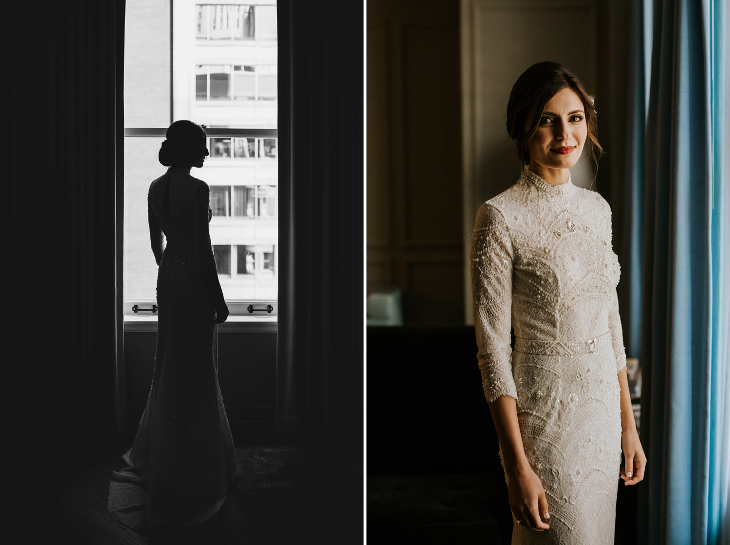 picture of the bride waiting for the first look at the gray hotel in chicago