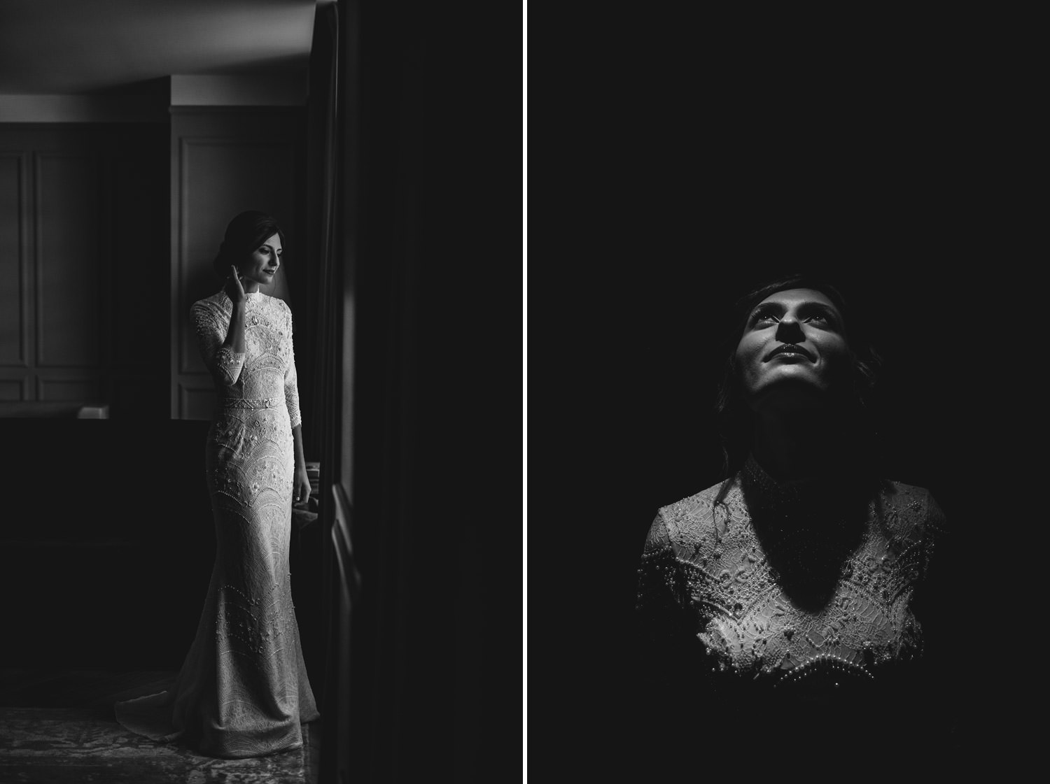 fine art portrait of the bride in her wedding dress photographed in downtown Chicago