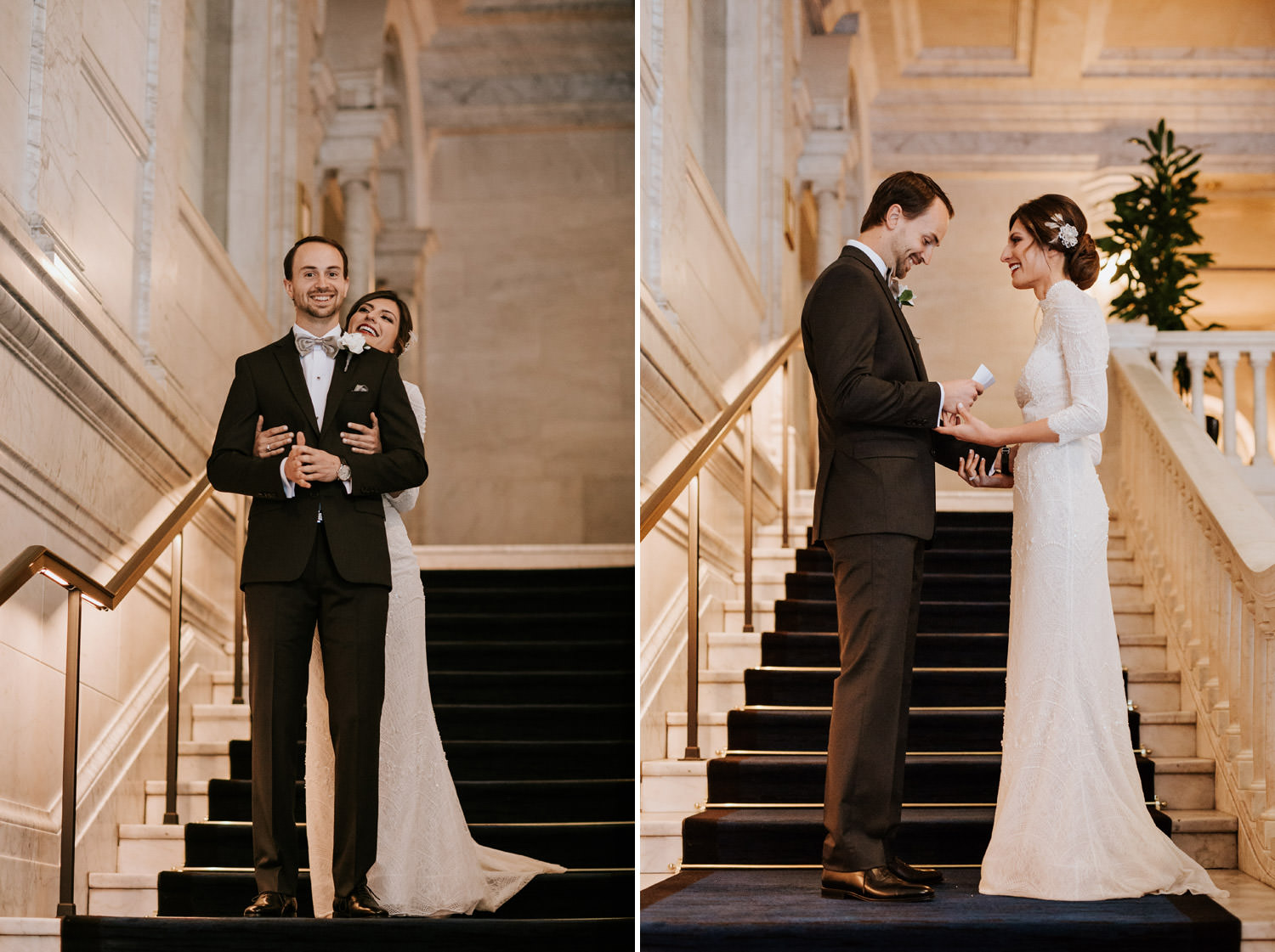 a diptych photograph of the bride and groom embracing during their first look in the gray hotel