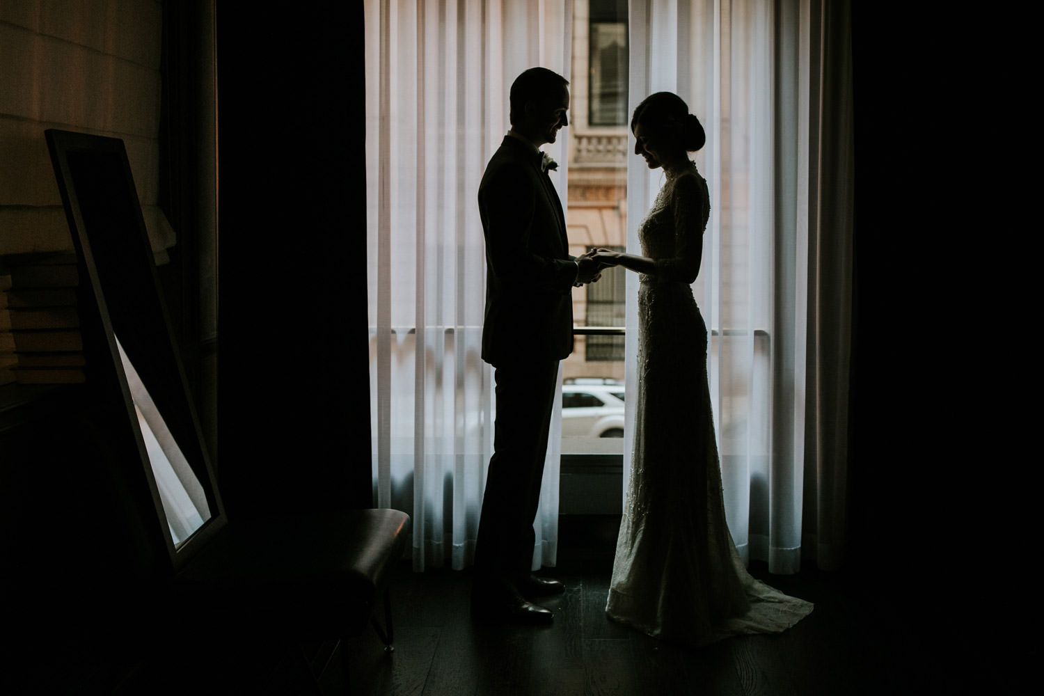 silhouette picture of the bride and groom taken at the gray hotel