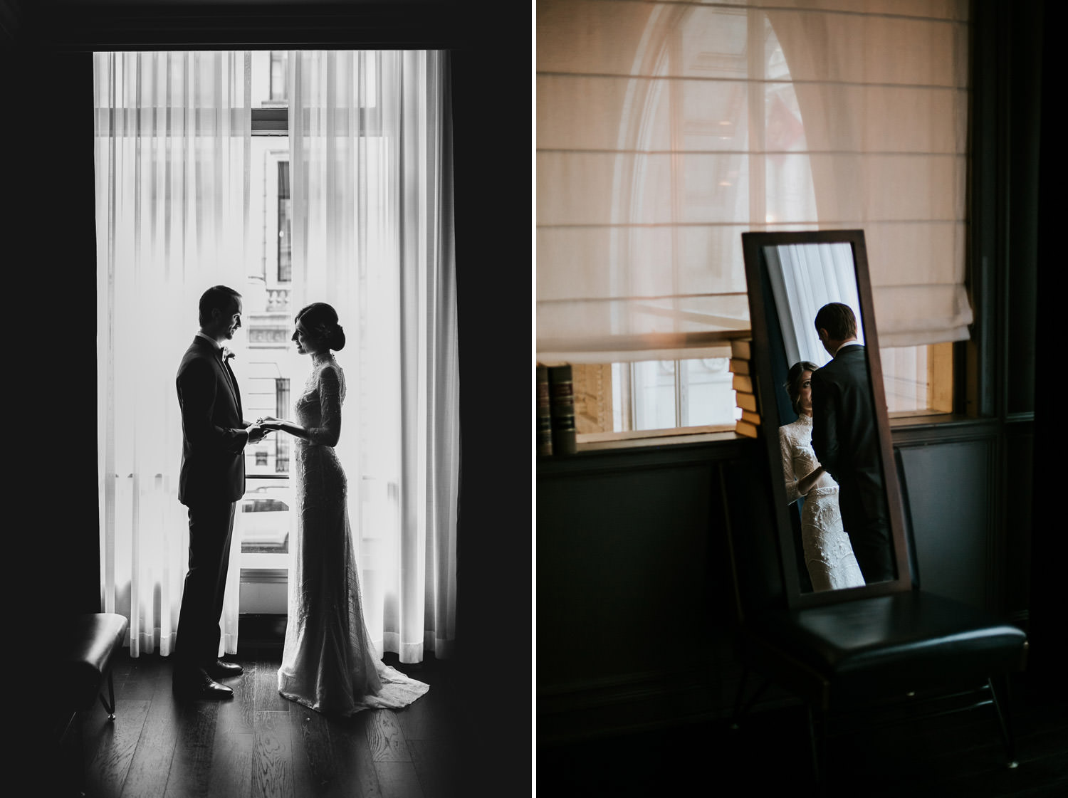 mood portrait of the bride and groom taken on their wedding day at the gray hotel