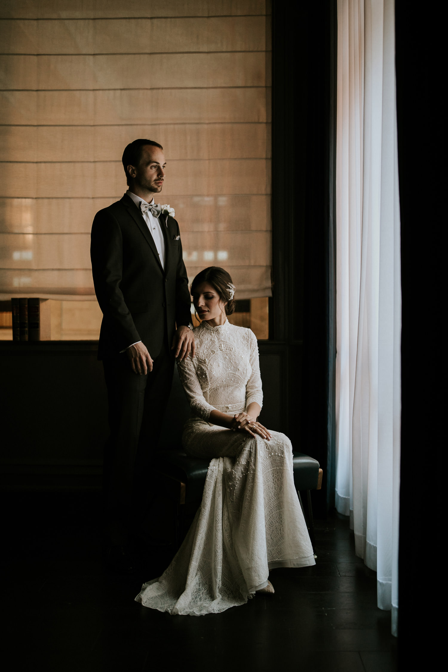 fine art portrait of the bride and groom photographed at the gray hotel in down town chicago
