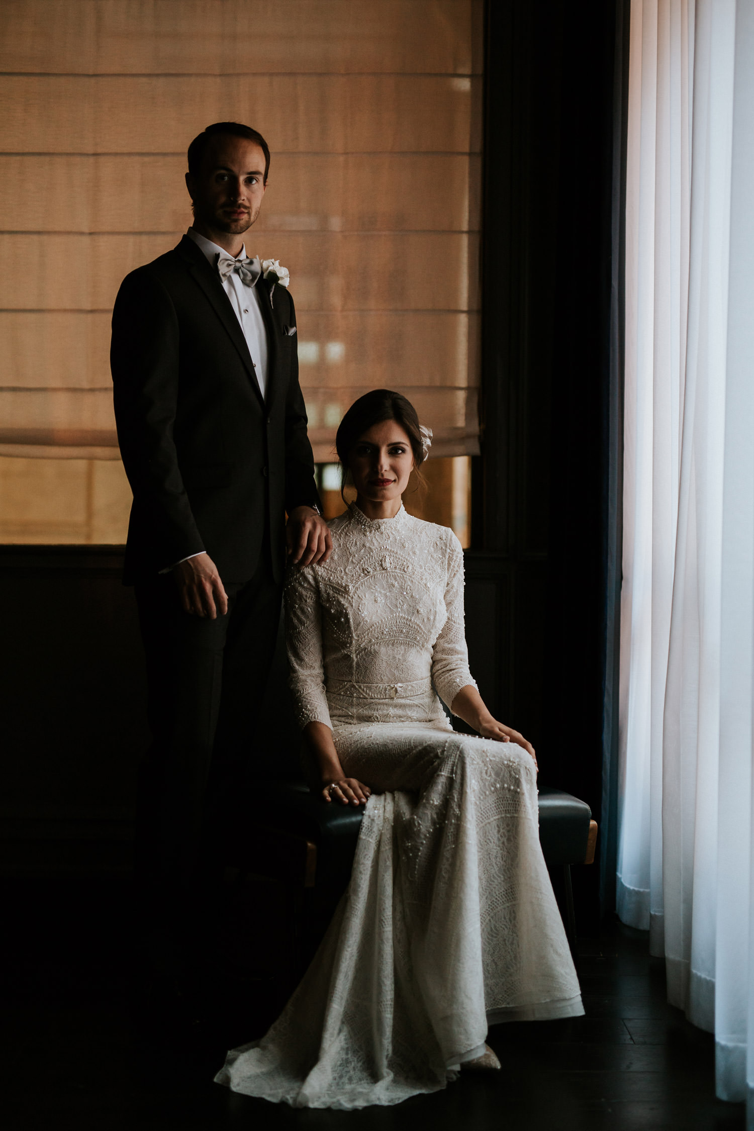 classic portrait of the bride and groom taken at the gray hotel in downtown Chicago