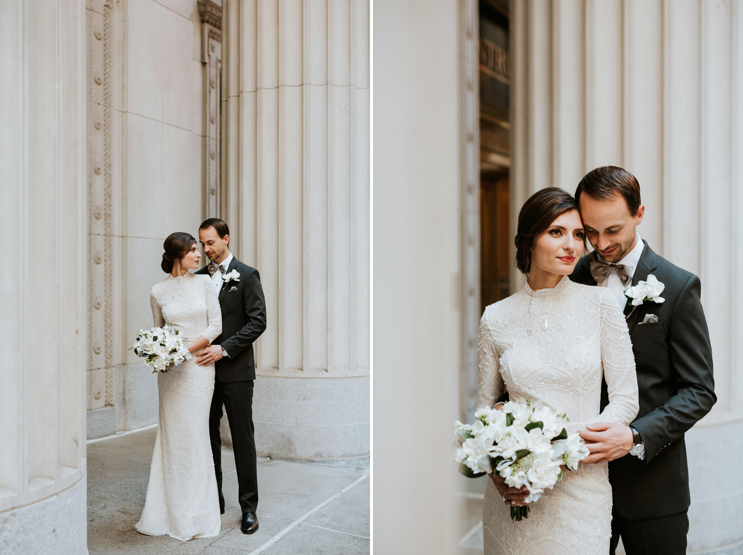 Bride and groom portrait taken at Chicago board of Trade