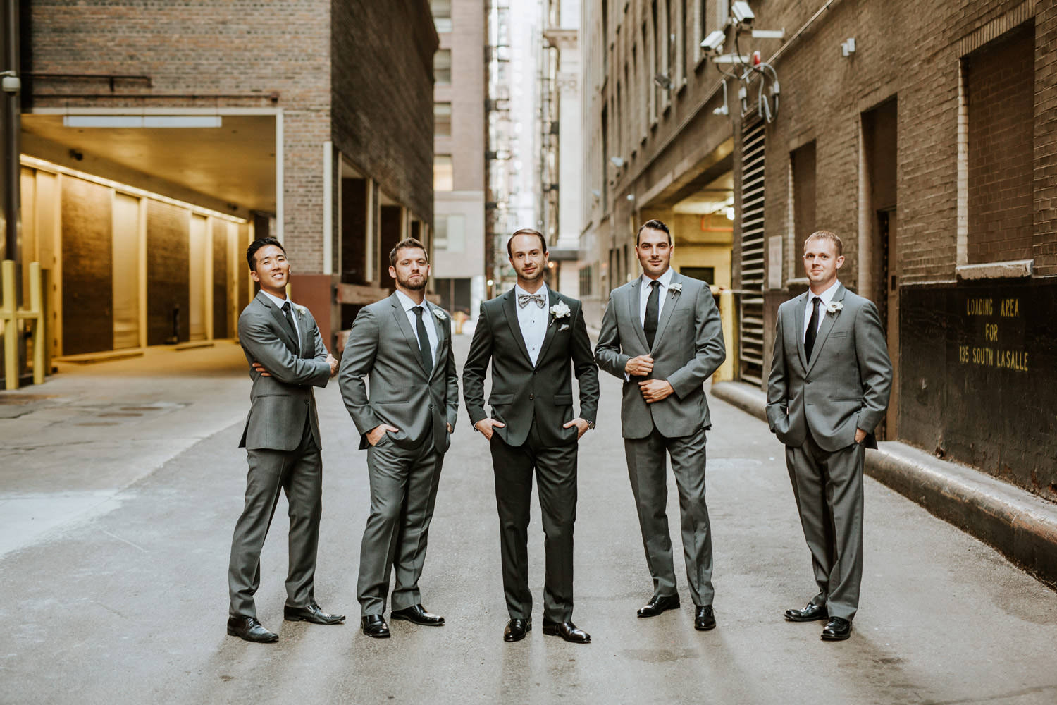 Picture of groom and groomsmen, photographed by Gray Hotel in Chicago