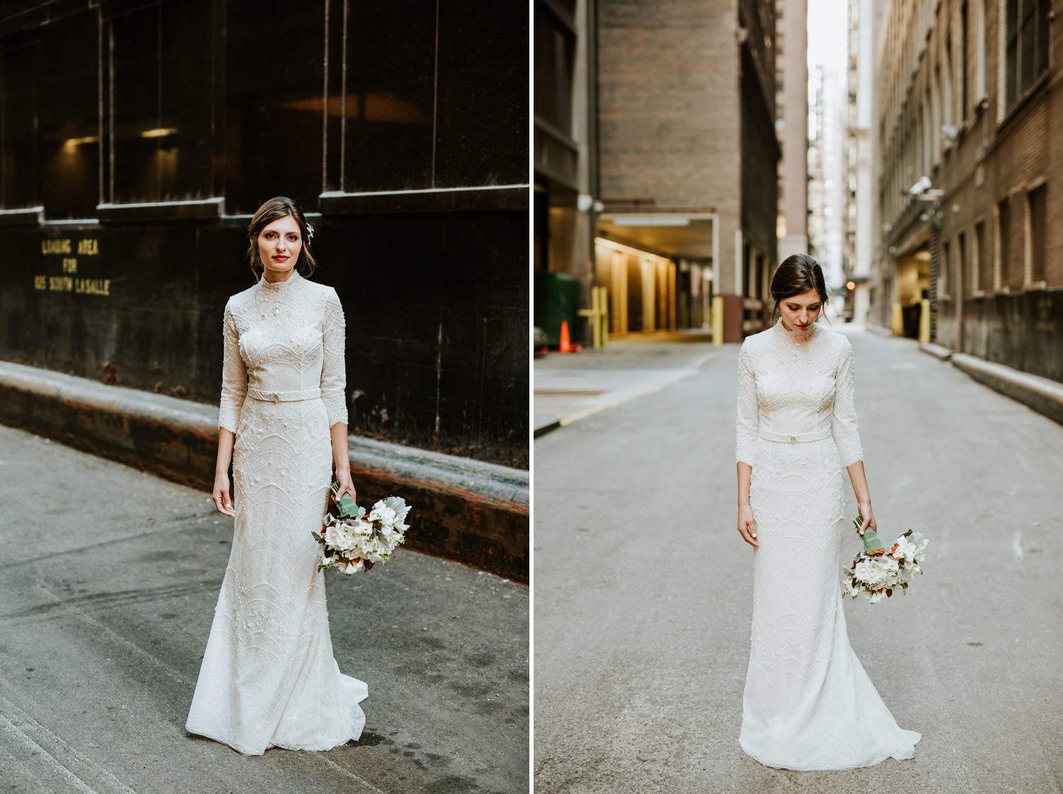 Fine art portrait of the bride taken outside of the gray hotel in Chicago