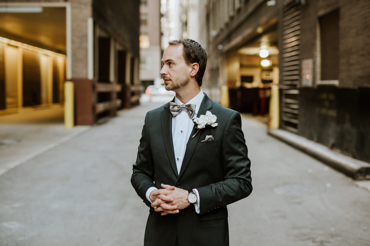 Portrait of the groom photographed at Hotel Gray in Chicago