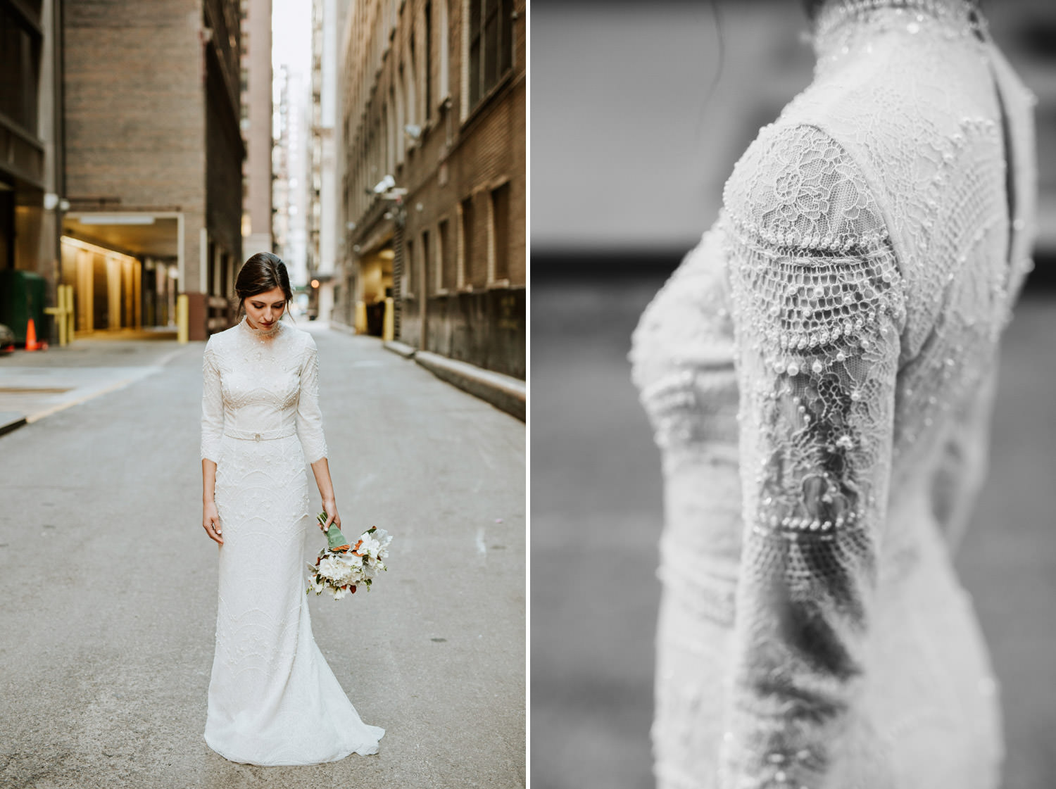 Portrait of the bride taken outside of the Gray Hotel in Chicago on the wedding day