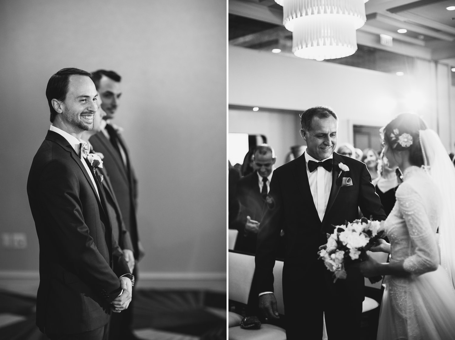 Picture of the groom looking at the bride walking down with her father. Photographed at hotel Gray in Chicago