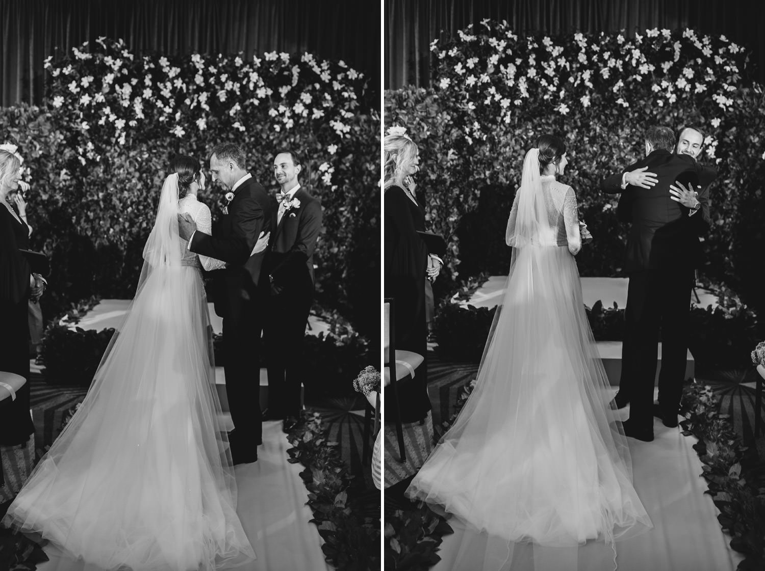 Father kissing her daughter while he passes her hand to the groom. Picture taken at hotel gray in Chicago