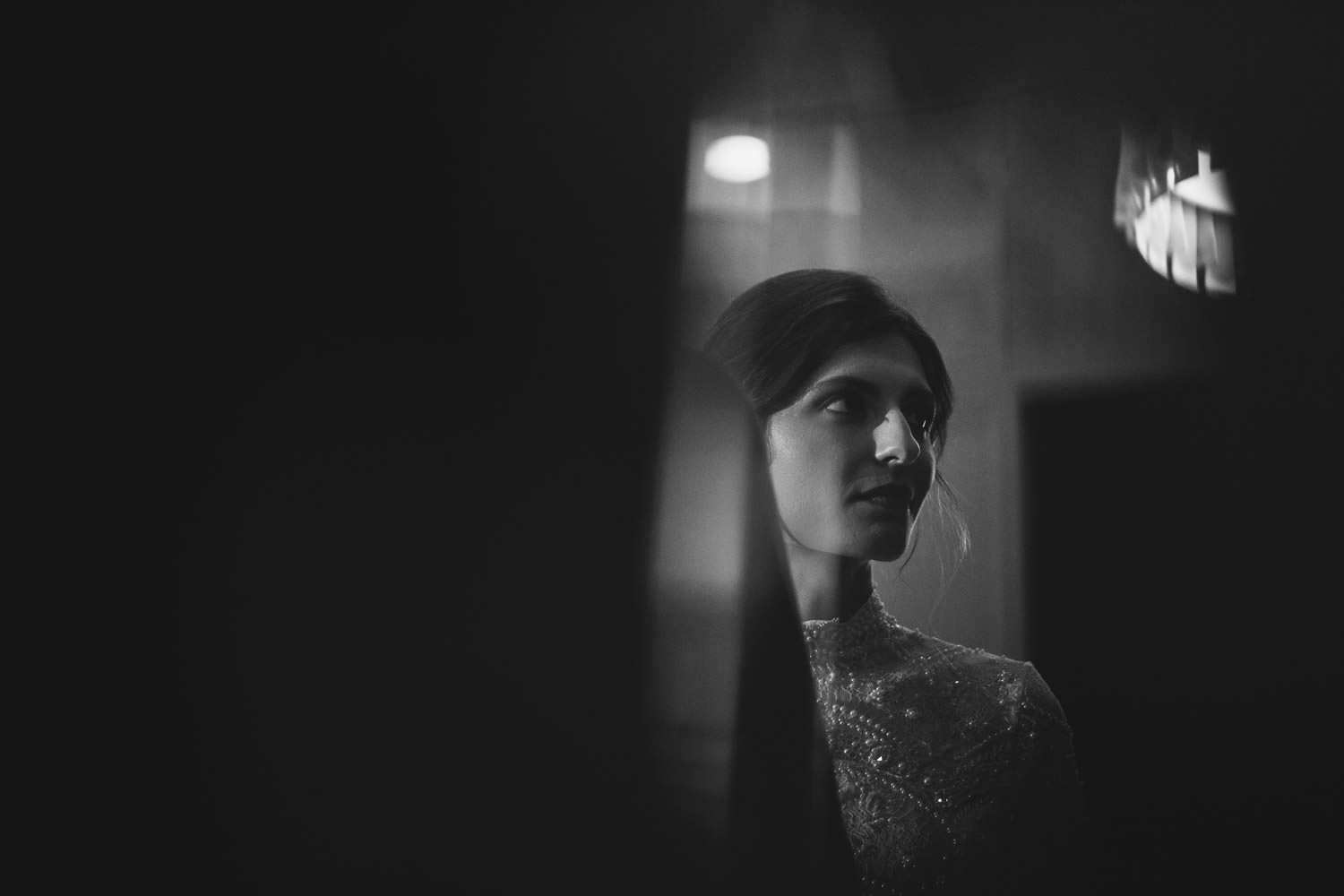 Picture of the bride taken on the wedding day during the ceremony at Hotel Gray in Chicago