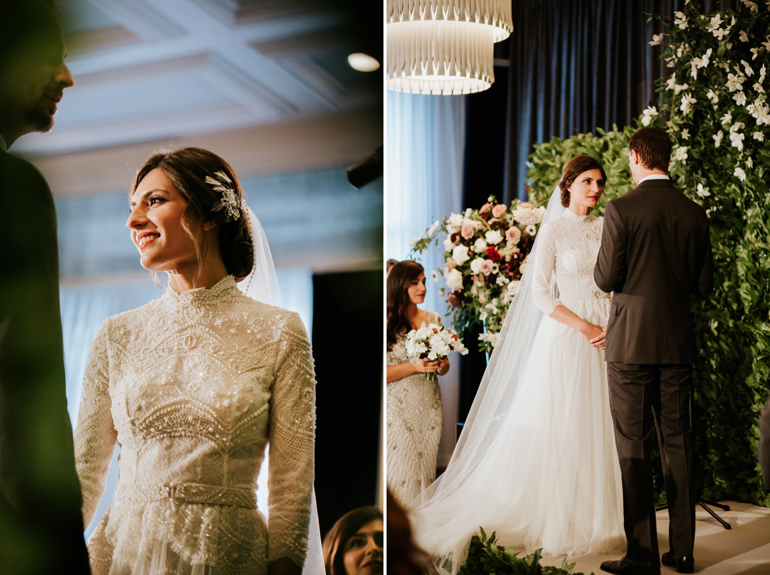 Bride and groom exchange vows during their wedding ceremony at hotel gray in Chicago