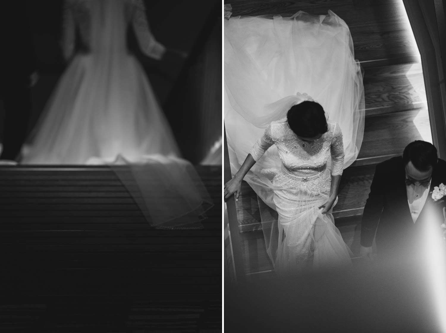 Bride and groom walk down the stairs after the wedding ceremony at Hotel Gray in Chicago