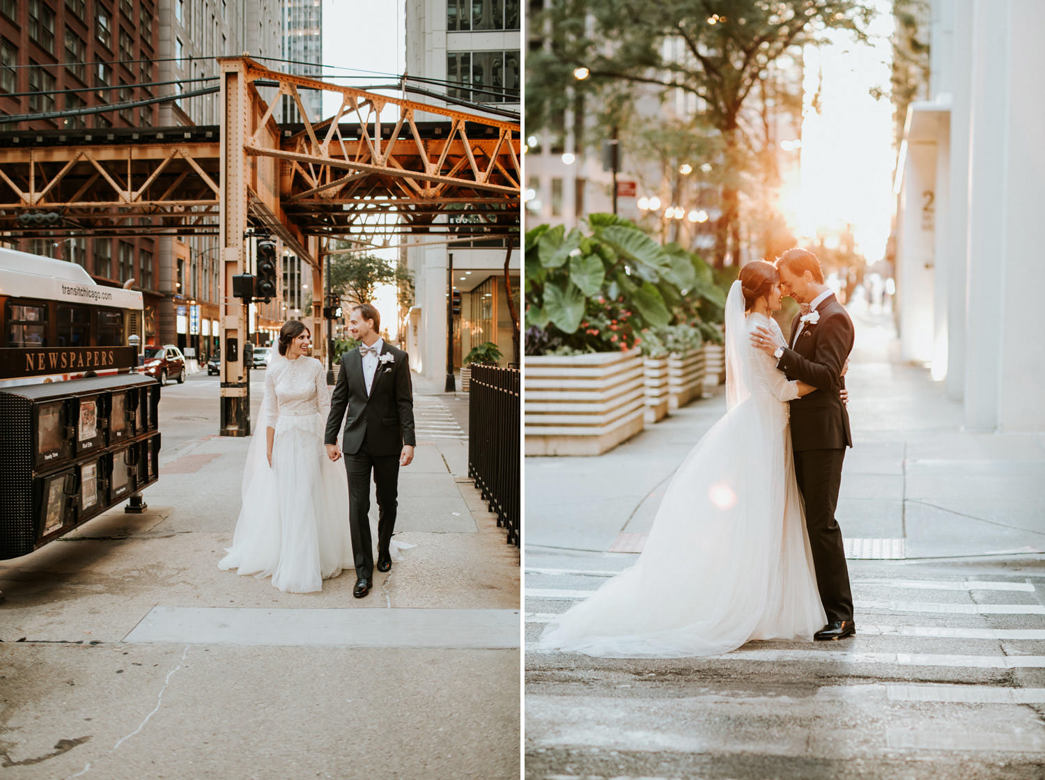 Bride and groom walk in downtown Chicago during sunset. Taken on their wedding day at hotel Gray in Chicago