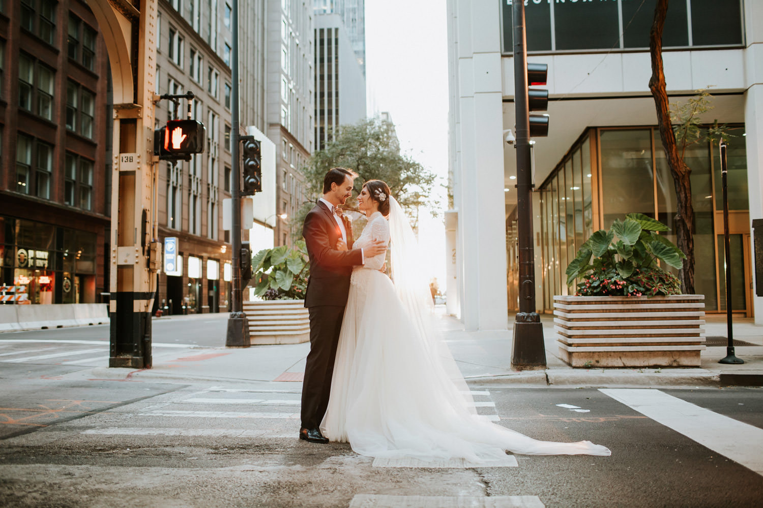 Sunset portrait of the bride and groom taken by hotel gray in Chicago