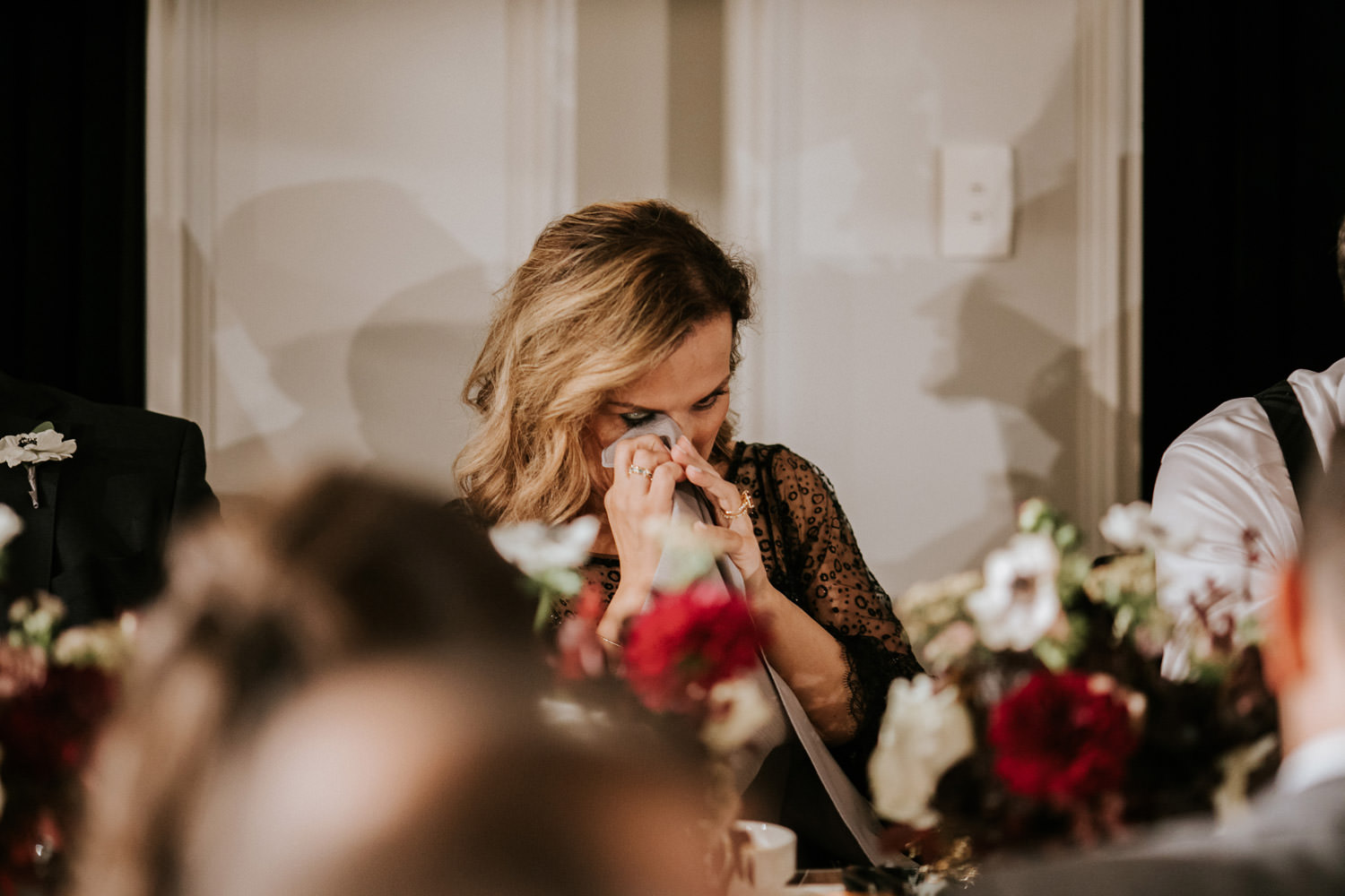 picture of the mother of the bride getting emotional during the wedding day at hotel gray in Chicago