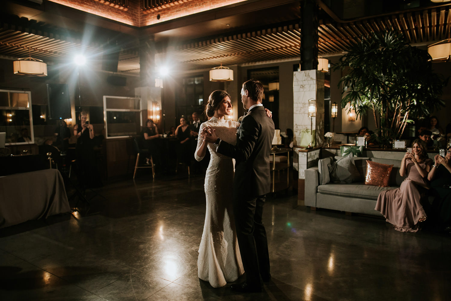 picture of Bride and groom during the first dance at hotel gray in Chicago