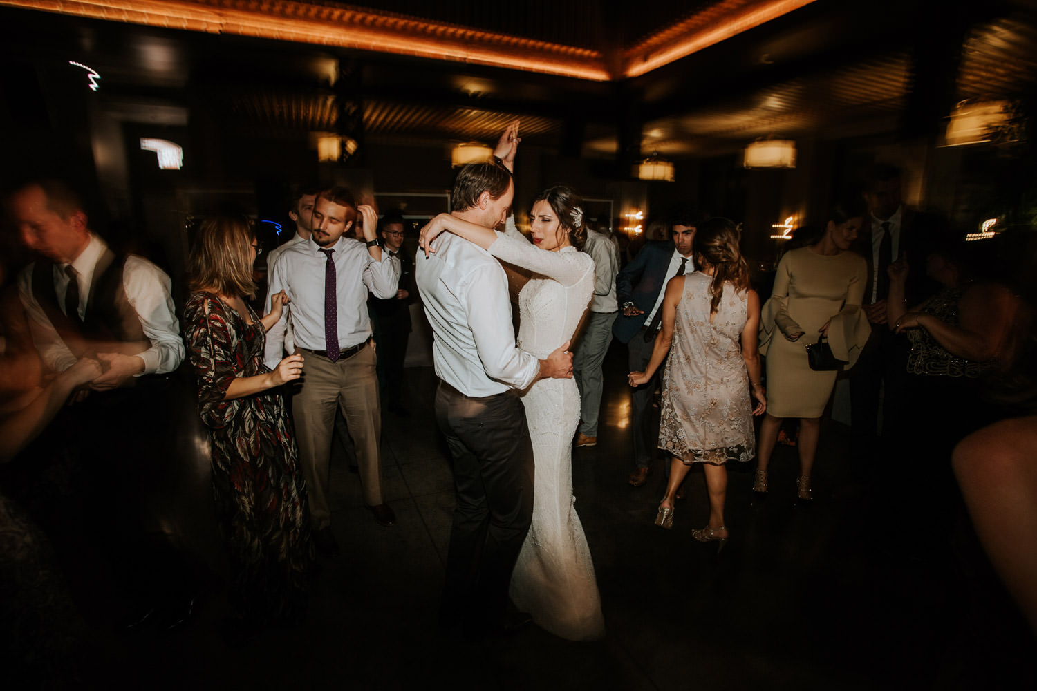 bride and groom dancing together on their wedding day at Hotel Gray in Chicago