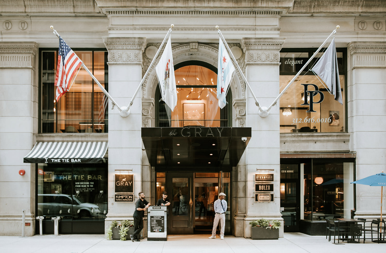 The view of the front of the Hotel Gray in Chicago on the
