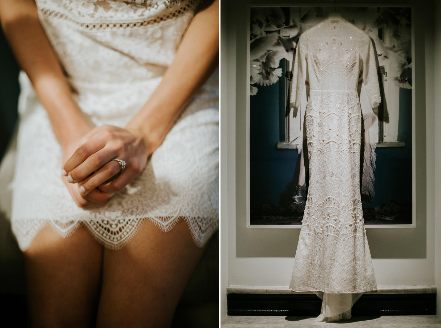 image of the bride and her wedding dress hanging in gray hotel in chicago