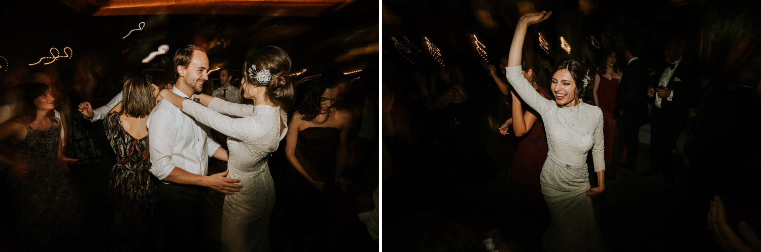 Bride and groom dancing on the wedding day at hotel gray in Chicago