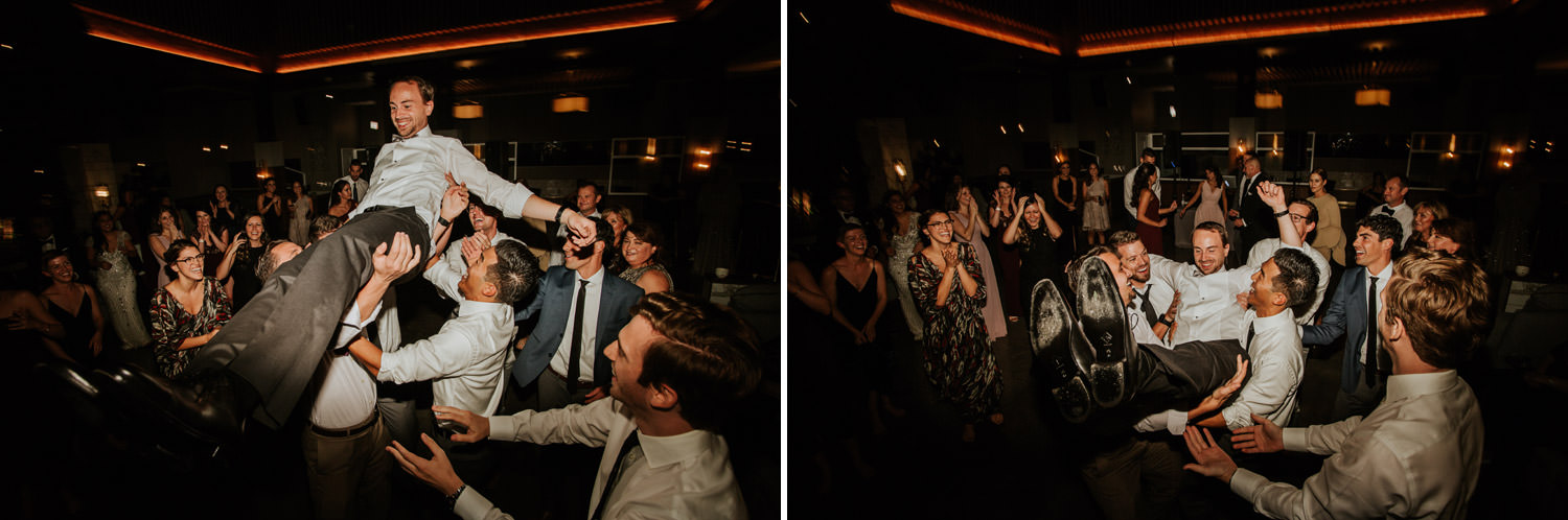 the guest dancing on the wedding day at hotel gray in Chicago
